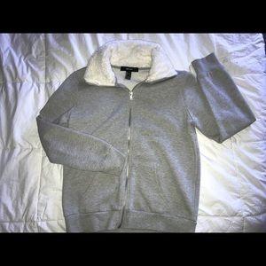 Grey Fur Collar Sweater